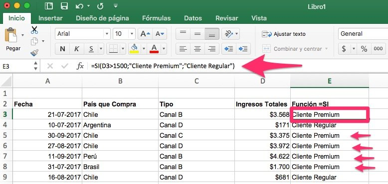 15 fórmulas excel para Agregar Superpoderes a tus Reportes de Marketing funcion si